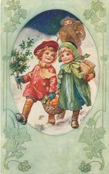 three children walking in snow, one carries basket & holly, another a parcel and the third a toy elephant