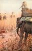 tiger leaps towards elephant  hunter aims rifle
