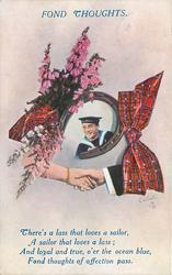 FOND THOUGHTS   inset of sailor in horseshoe, heather left, tartan right, clasped hands