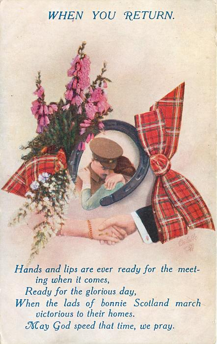 WHEN YOU RETURN  inset of soldier in horseshoe, heather left, tartan right, clasped hands