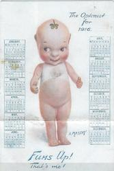 A MASCOT calendar for all twelve months of 1916 printed on front