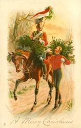 A MERRY CHRISTMAS trooper on horse & another walking besde, carrying Xmas trees