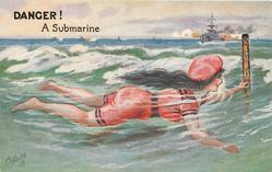 DANGER! A SUBMARINE  girl  swimming right and warship