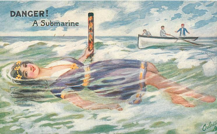 DANGER! A SUBMARINE  girl  swimming on her back,  men in rowing boat