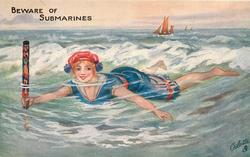 girl  swimming left, distant sailing ship