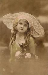 girl with lace hat, two curls of hair left and three right