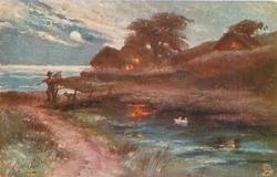 evening/night scene, fisherman & dog cross bridge over stream, two ducks, sea upper left