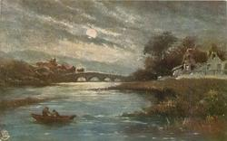 night view of small boat with two people in river, bridge upstream