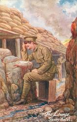 THE LOUNGE,  SAVOY HOTEL  soldier sitting on box reading letter