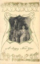A HAPPY NEW YEAR  silk centre panel, lovers, lady seated, man with back to her