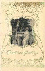CHRISTMAS GREETINGS silk centre panel, lovers, lady seated, man with back to her