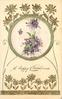 A HAPPY CHRISTMAS  violets in circular inset