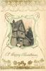 A HAPPY CHRISTMAS  silk centre inset old  thatched house, woman sitting on step