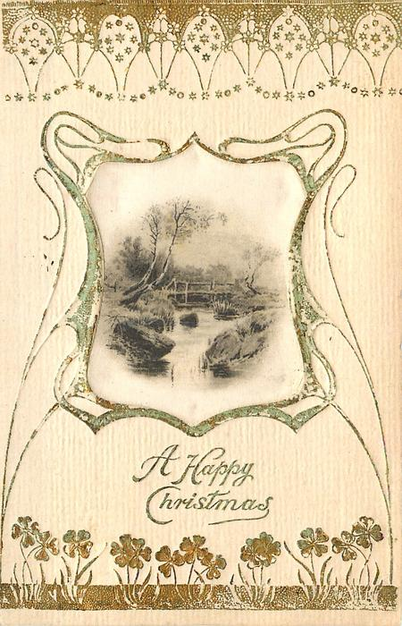 A HAPPY CHRISTMAS  silk centre inset stream with rustic bridge in background