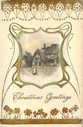 CHRISTMAS GREETINGS  silk centre inset old  thatched house, two children in front