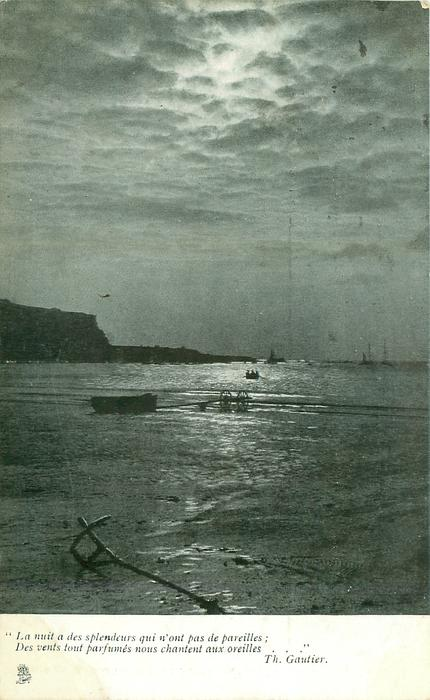 night seascape, moon high central, anchor on shore front, boat and trailer on shore, land back left