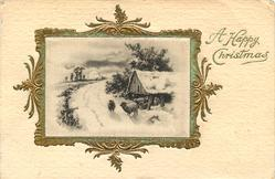 A HAPPY CHRISTMAS silk inset snowy road with sheep to right