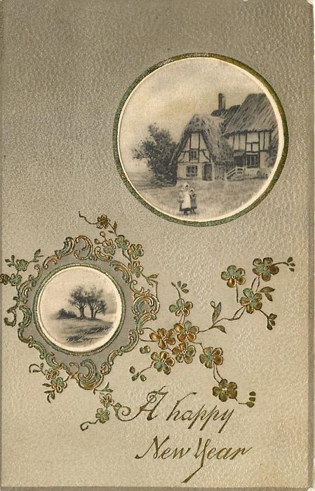 A HAPPY NEW YEAR  two circular silk panels, small inset trees inserted in complex design, inset above children in front of thatched house