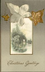 CHRISTMAS GREETINGS,  rectangular silk centre panel, inset sailboat in distance, ivy leaves above panel