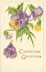 CHRISTMAS GREETINGS  purple and yellow flowers