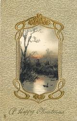 A HAPPY CHRISTMAS  satin panel pond, birds, reeds & tree in ornate desgn