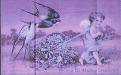 LOVING BIRTHDAY GREETINGS cherub walks right, pulling flower basket, two swallows follow behind