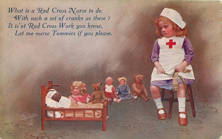 WHAT IS A RED CROSS NURSE TO DO WITH SUCH A SET OF CRANKS AS THESE?  black doll