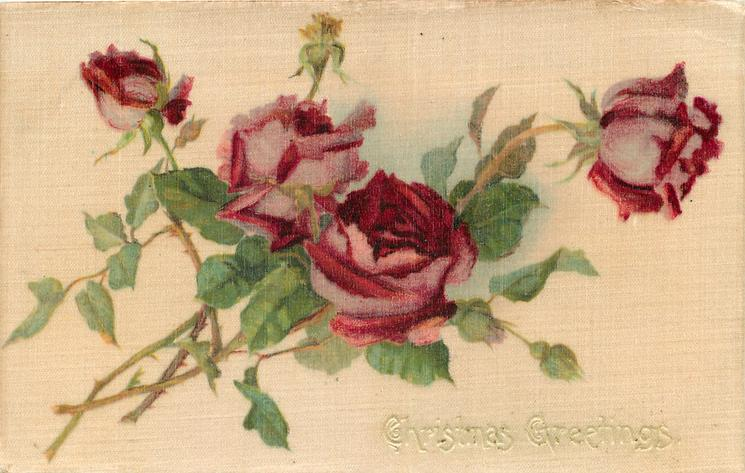 CHRISTMAS GREETINGS  four red roses
