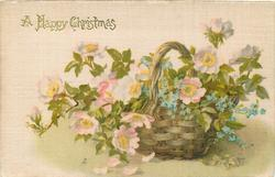 A HAPPY CHRISTMAS  pink & white dog roses with forget-me-nots in upright basket