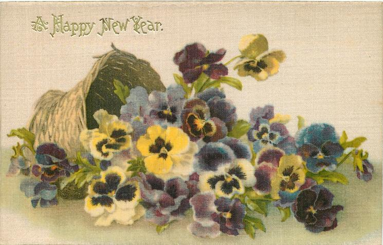 A HAPPY NEW YEAR  multicoloured pansies falling out of tipped over basket