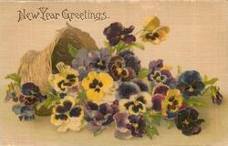 NEW YEARS GREETINGS multicoloured pansies falling out of tipped over basket