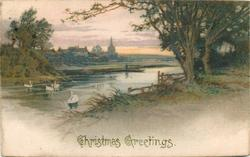 CHRISTMAS GREETINGS  rural scene, four swans on river, trees right, village back