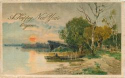 A HAPPY NEW YEAR TO YOU  man in boat, river left, prominent sun, path to right