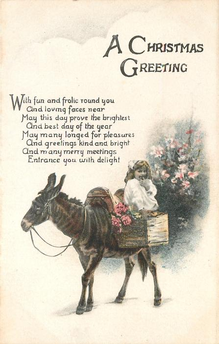 A CHRISTMAS GREETING  (girl with mule)