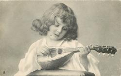 girl with lute looking down