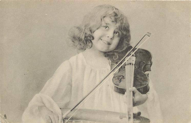 girl with violin to shoulder