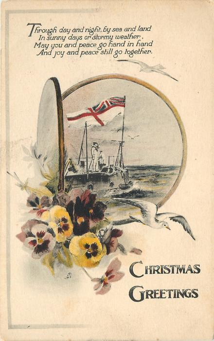 CHRISTMAS GREETINGS  (flag on naval ship in port-hole inset, pansies below left)