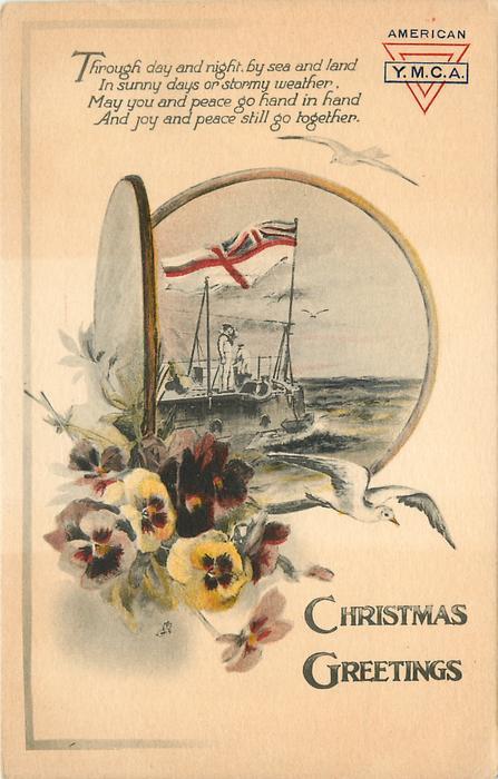 CHRISTMAS GREETINGS  (flag on naval ship in port-hole inset, pansies below left)