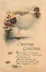 CHRISTMAS GREETINGS  (hands shaking over globe, pansies and sailboats)