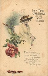NEW YEAR GREETINGS AND ALL GOOD WISHES woman wearing broad rimmed hat sits, rose left