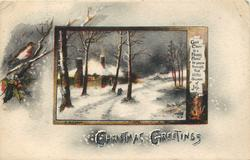 CHRISTMAS GREETINGS  snow scene with cabin insert
