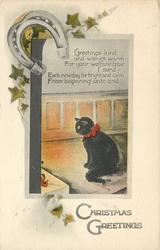 CHRISTMAS GREETINGS  (black cat, horseshoe)