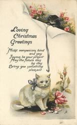 LOVING CHRISTMAS GREETINGS (black and white kittens with roses)