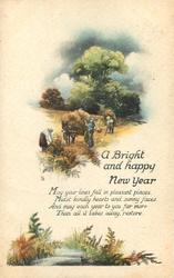 A BRIGHT AND HAPPY NEW YEAR harvest scene