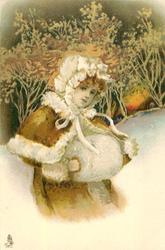 head and shoulders of child in winter clothes, white muff, woods & winter sunset behind