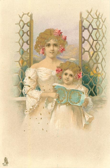 mother & girl in white dresses stand looking front, they hold up a blue book, window & seascape behind