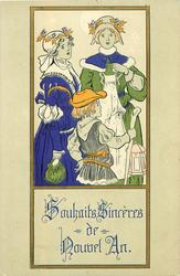 inset of two women singing, boy in front carries stave & lantern