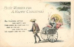 BEST WISHES FOR A HAPPY CHRISTMAS, lady in blue kimono travels by rickshaw, holding flowers and yellow parasol