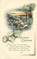 A HAPPY CHRISTMAS, rural scene, sheep