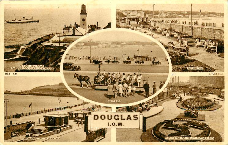 5 insets  ISLE OF MAN LIGHTHOUSE/THE GARDENS/TOAST RACK/PROMENADE PARK/